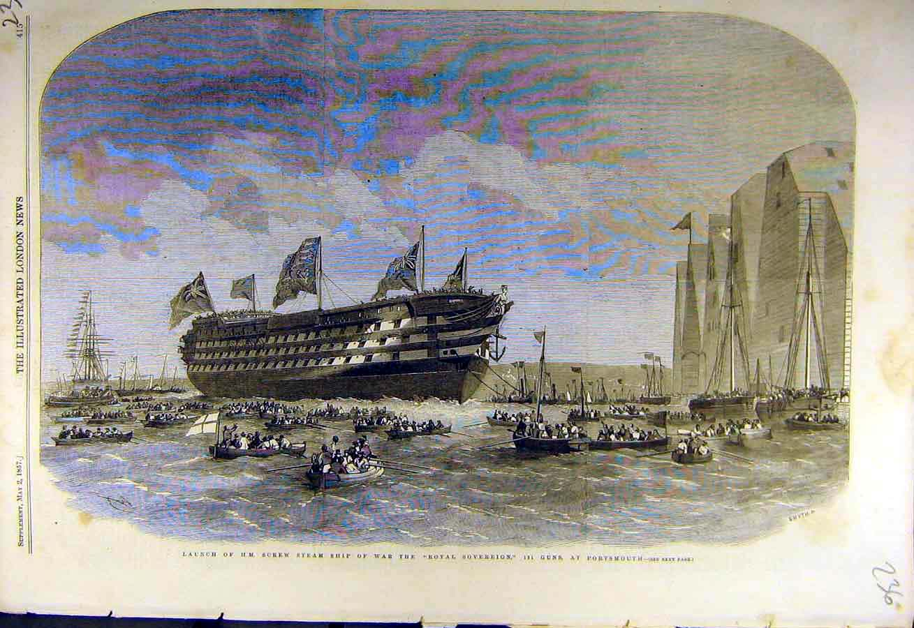 Print 1857 Screw-Steam Ship War Royal-Sovereign Portsmouth 36Ccc0 Old Original