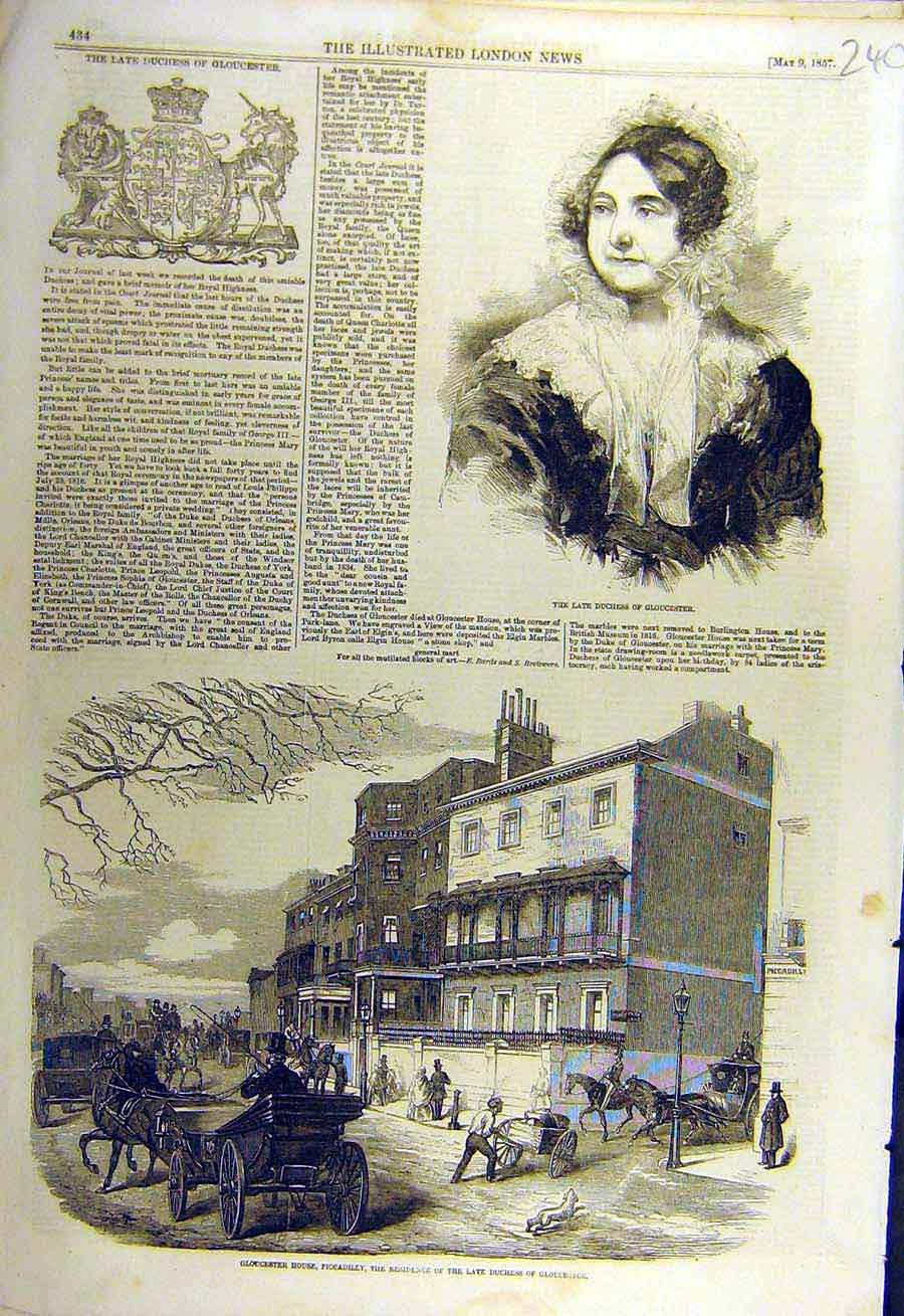 Print 1857 Duchess Gloucester Piccadilly House Arms 40Ccc0 Old Original