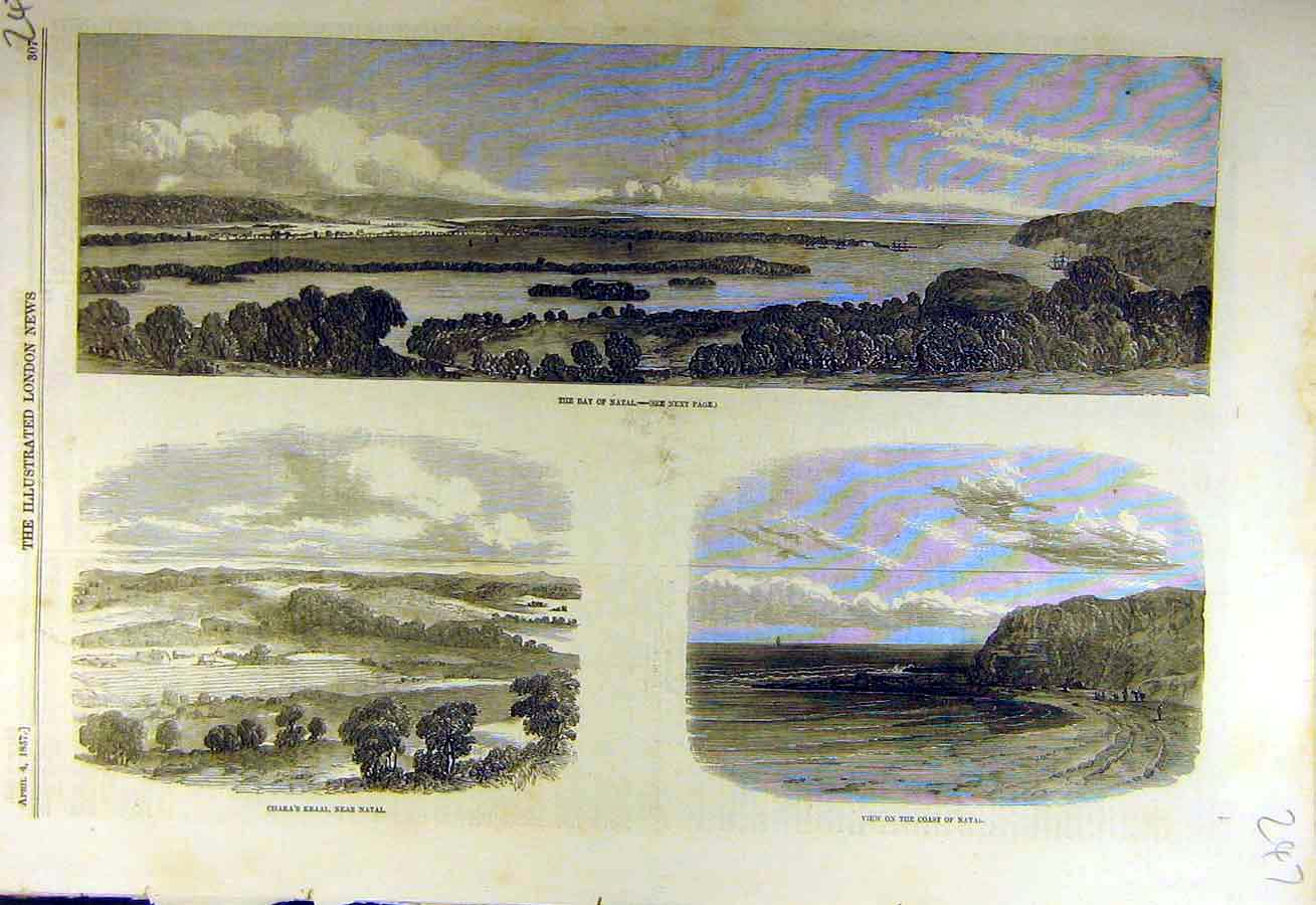 Print 1857 Natal South-Africa Chaka'S Kraal 47Ccc0 Old Original