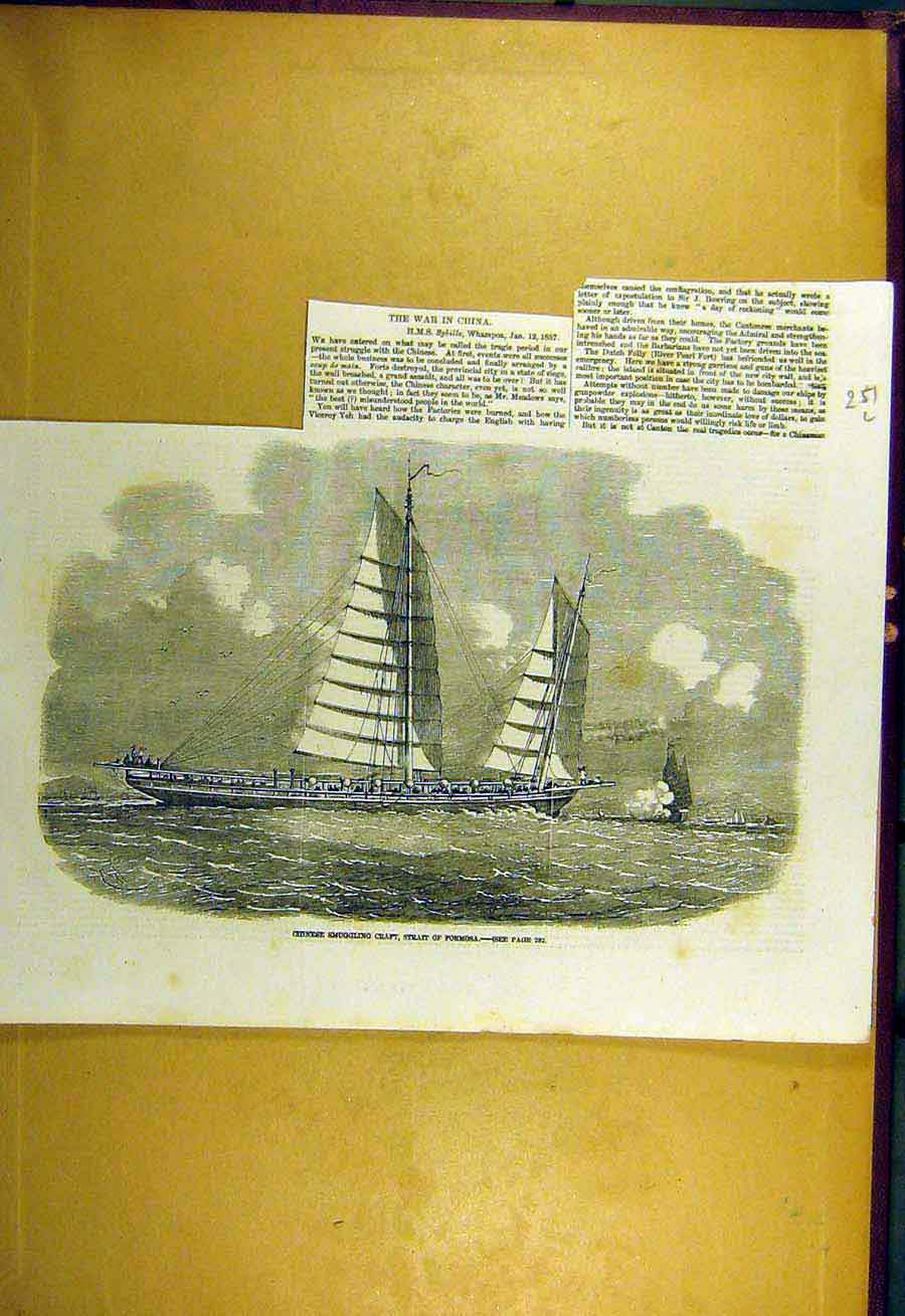 Print 1857 Conflagration Conton China Fei-Ma Imperial Junks 51Uccc0 Old Original