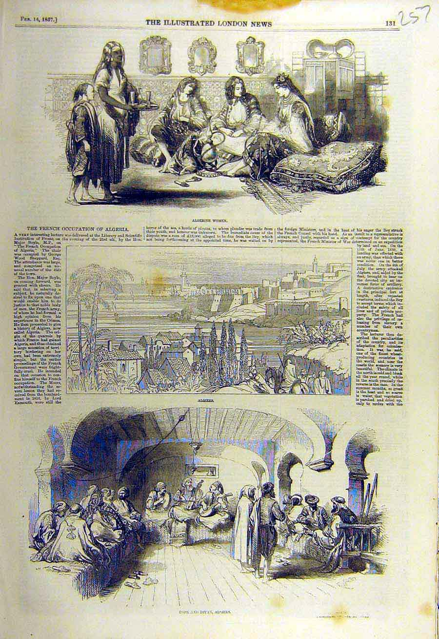 Print 1857 Algerine Women Algiers Caf� Divan People Places 57Ccc0 Old Original