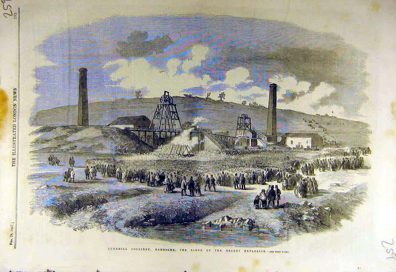 Print 1857 Lundhill Colliery Barnsley Explosion Coal-Mine 59Ccc0 Old Original
