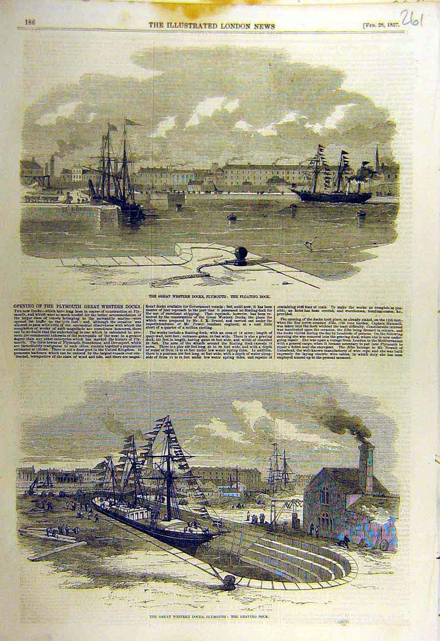Print 1857 Plymouth Western-Docks Floating Graving 61Ccc0 Old Original