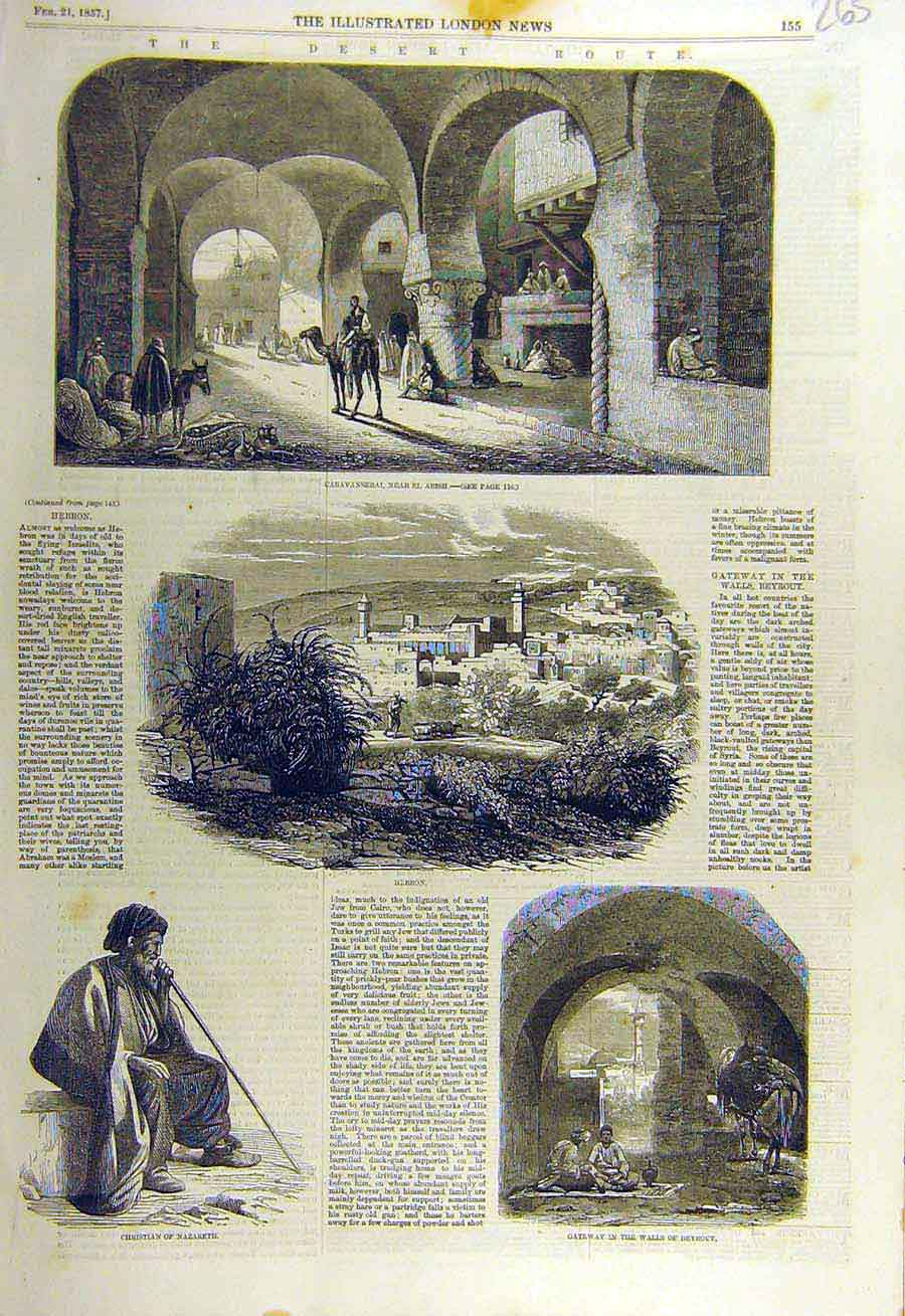 Print 1857 Desert Route Arish Hebron Nazareth Beyrout Gateway 65Ccc0 Old Original