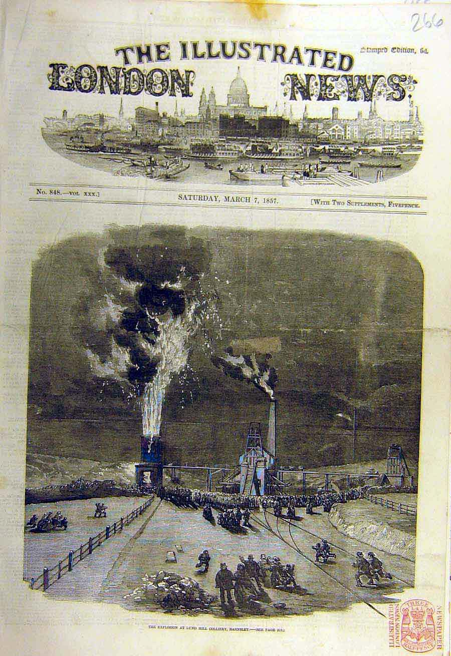 Print 1857 Explosion Lund-Hill Colliery Coal-Mine Barnsley 66Ccc0 Old Original