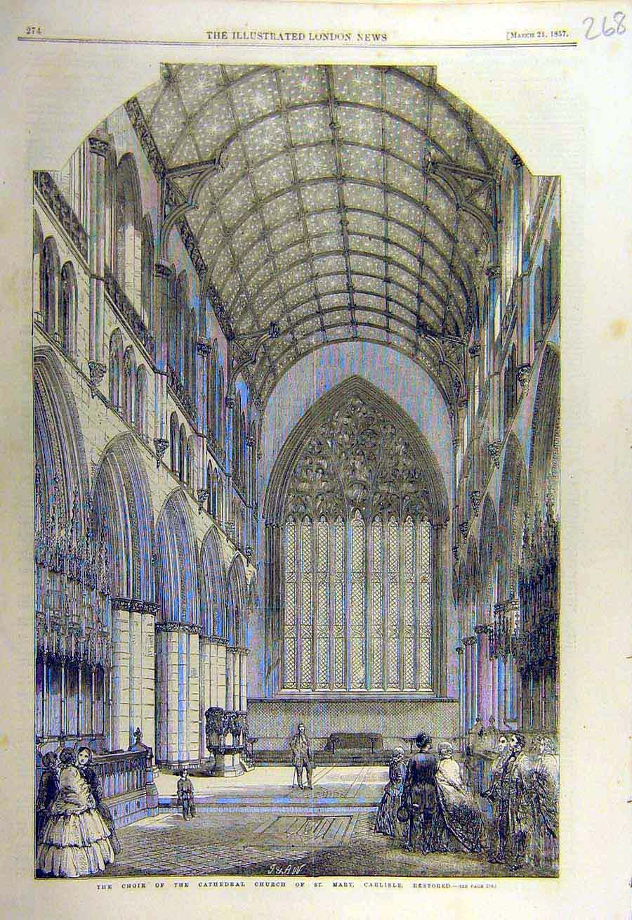 Print 1857 Choir Cathedral Churhc St. Mary Carlisle Restored 68Ccc0 Old Original