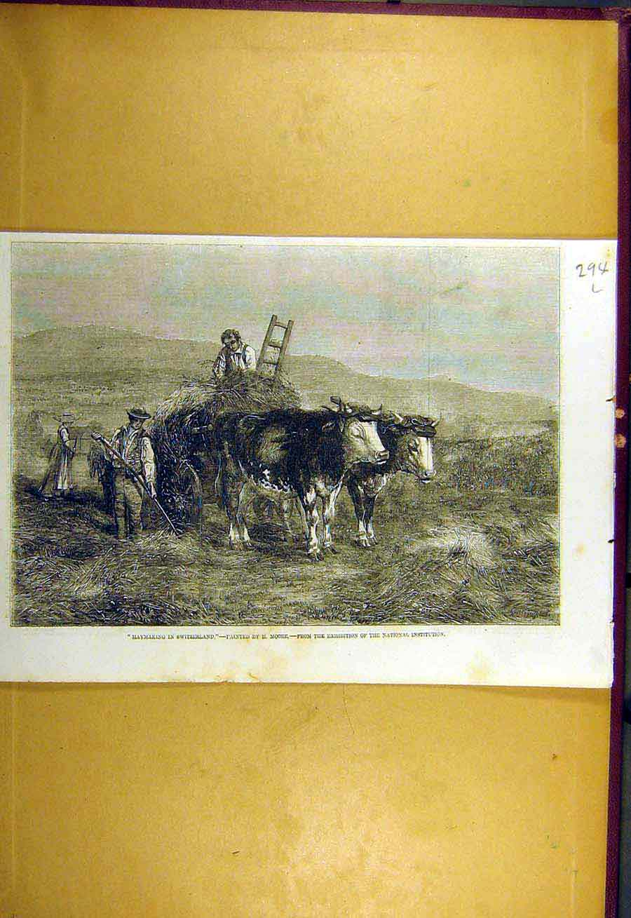 Print 1857 Hay-Making Switzerland Moore Fine Art Farm 94Lccc0 Old Original