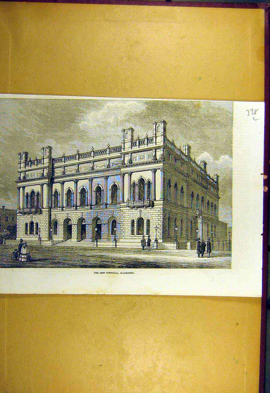 Print 1857 New-Townhall Blackburn Building Architecture 38Lccc0 Old Original