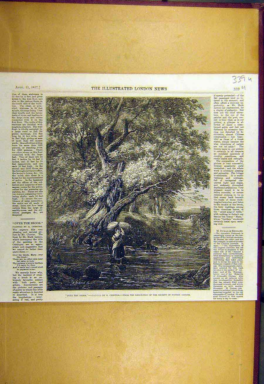Print 1857 Over-The-Brook Chester Fine Art River Lady 39Uccc0 Old Original