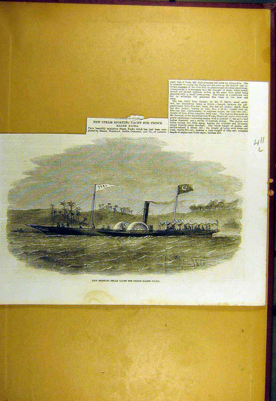 Print 1857 Sporting Steam-Yacth Prince Halem-Pacha 11Lccc0 Old Original