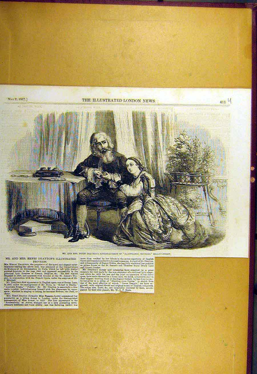 Print 1857 Drayton Entertainment Illustrated Proverbs 11Uccc0 Old Original