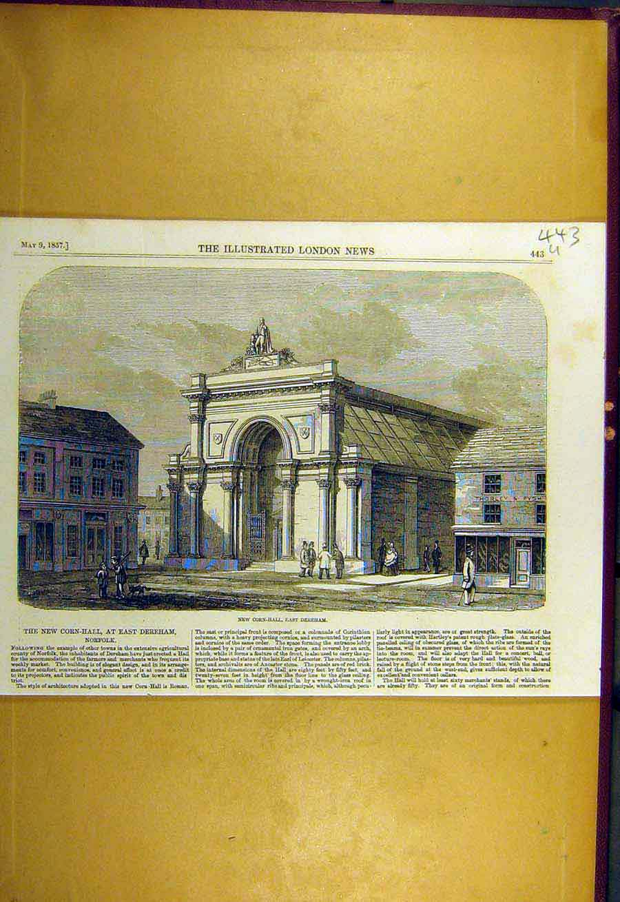 Print 1857 Corn-Hall East-Dereham Building Architecture 43Uccc0 Old Original