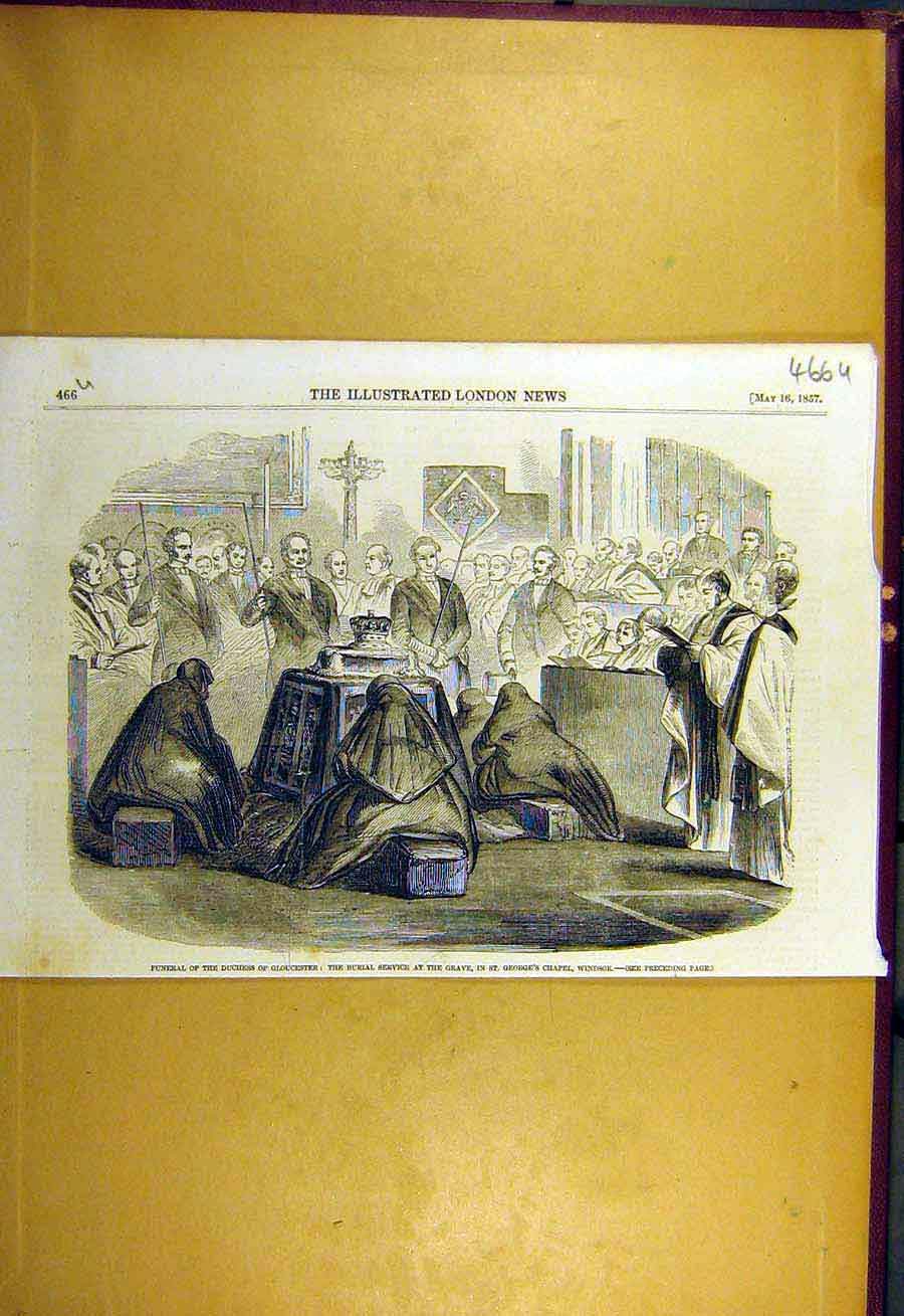 Print 1857 Funeral Duchess Gloucester Burial Service Windsor 66Uccc0 Old Original