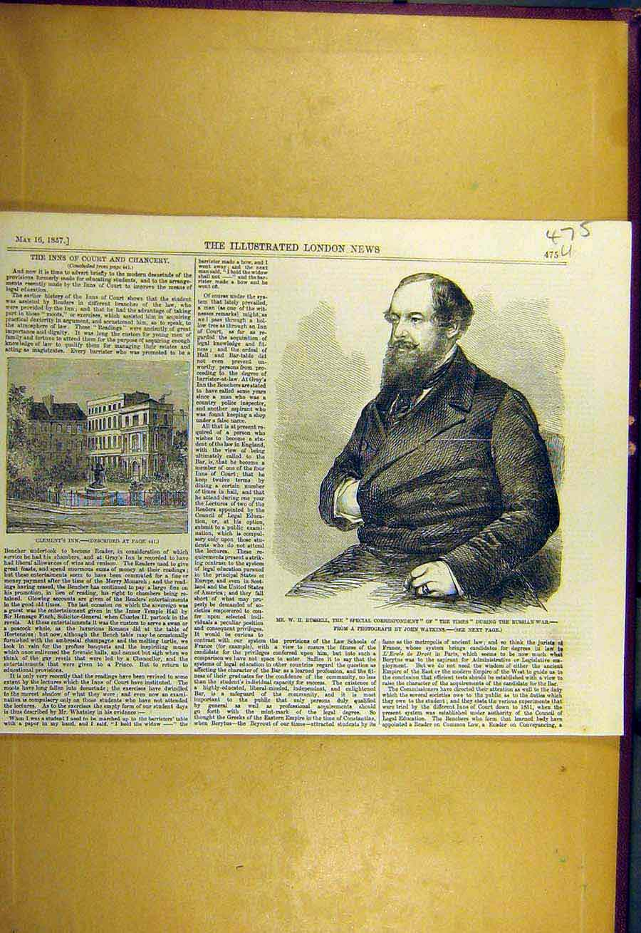 Print 1857 Russell Correspondent Clement'S Inn 75Uccc0 Old Original