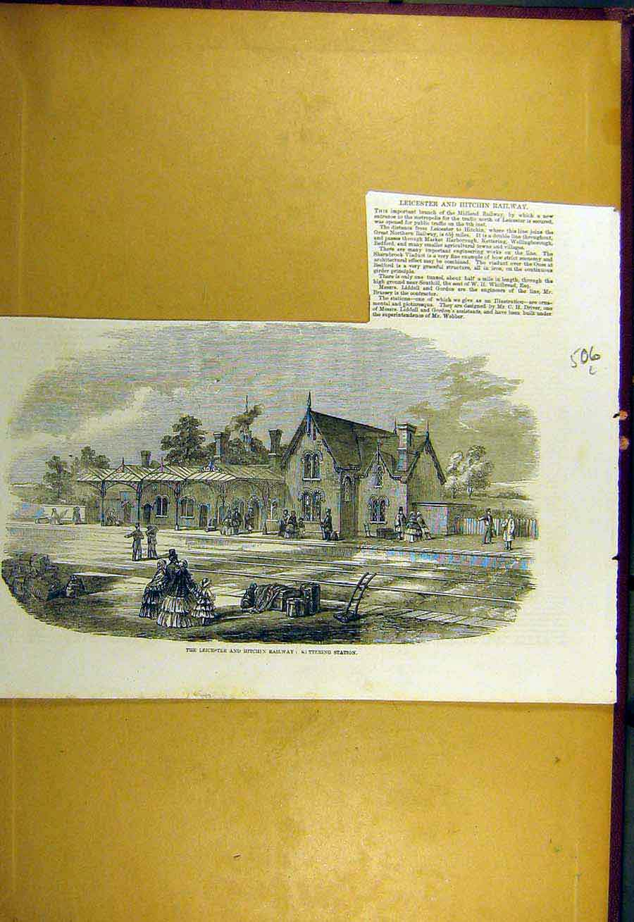 Print 1857 Leicester Hitchin Railway Kittering Station 06Lccc0 Old Original