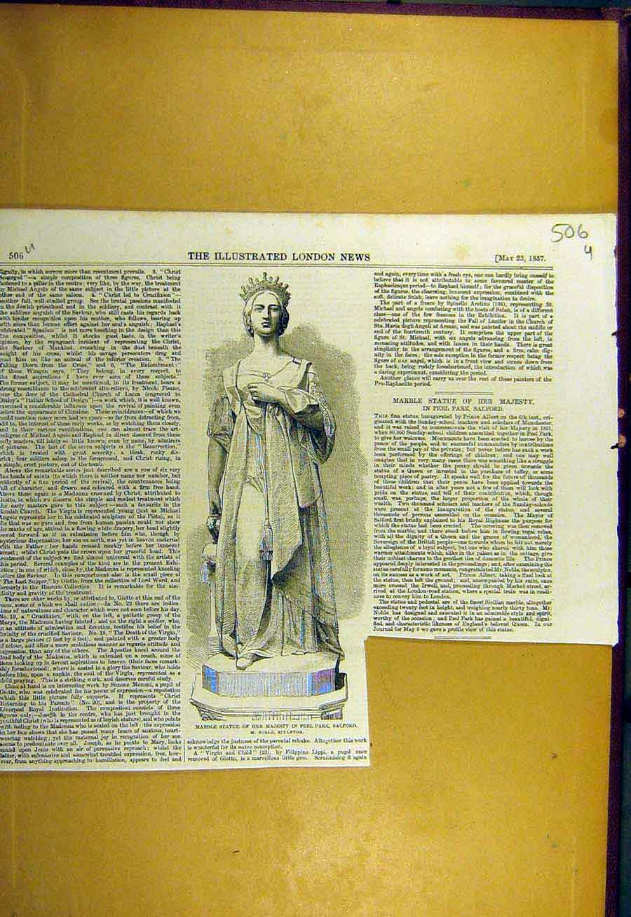 Print 1857 Marble Statue Peel Park Queen Salford Noble 06Uccc0 Old Original