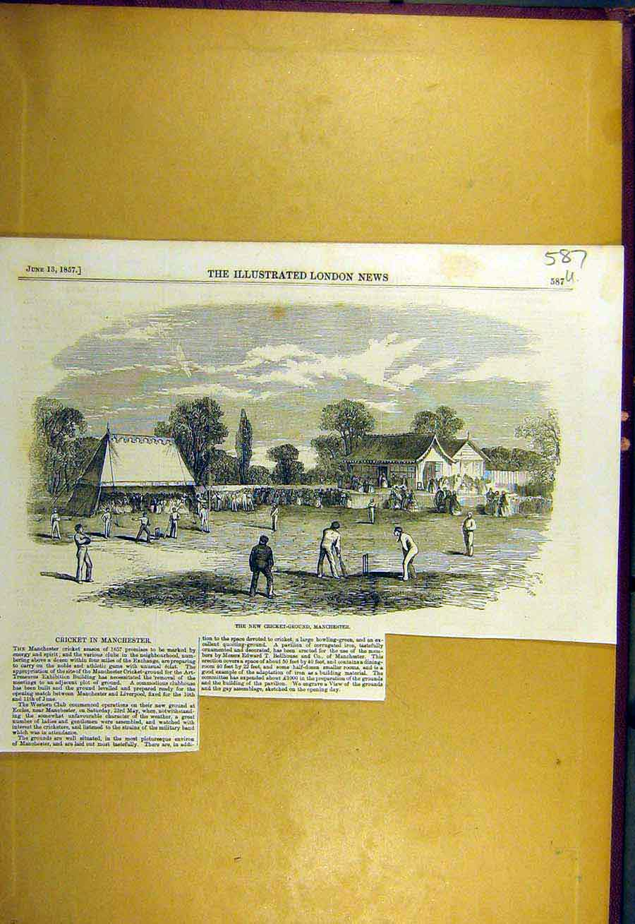Print 1857 Cricket-Ground Manchester Sport 87Uccc0 Old Original