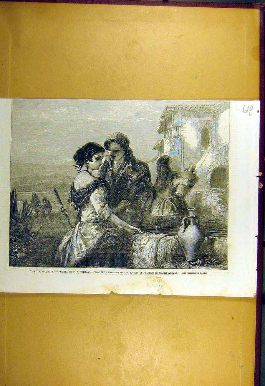 Print 1857 Fountain Topham Fine Art Lady Man 10Lccc0 Old Original