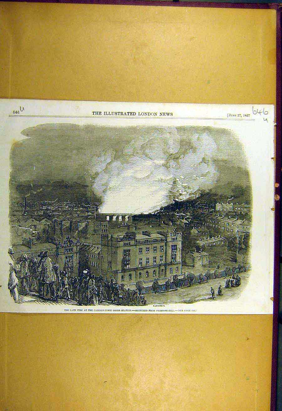 Print 1857 Fire Camden-Town Goods Station London 46Uccc0 Old Original