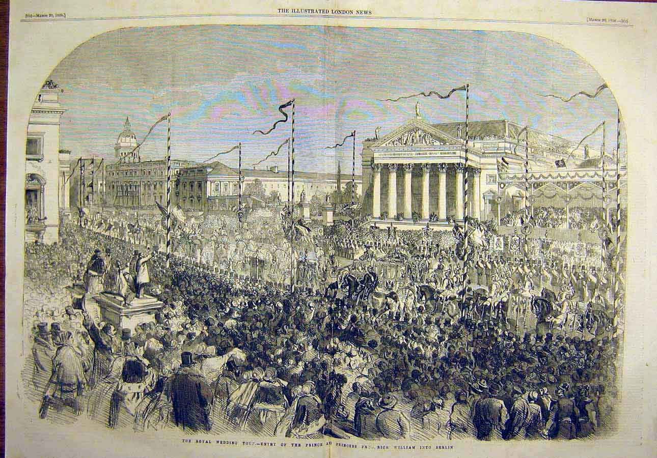 Print Royal Wedding Prince William Berlin Procession 1858 08Tccc0 Old Original