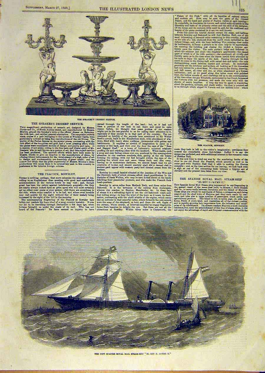 Print Spanish Royal-Mail Steam-Ship Rowsley Dessert Service 11Ccc0 Old Original
