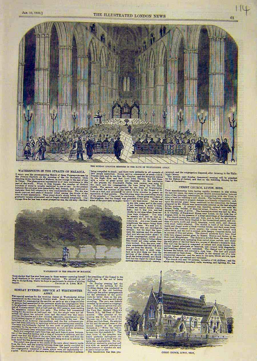 Print Westminster Abbey Nave Waterspout Malacca Luton 1858 14Ccc0 Old Original