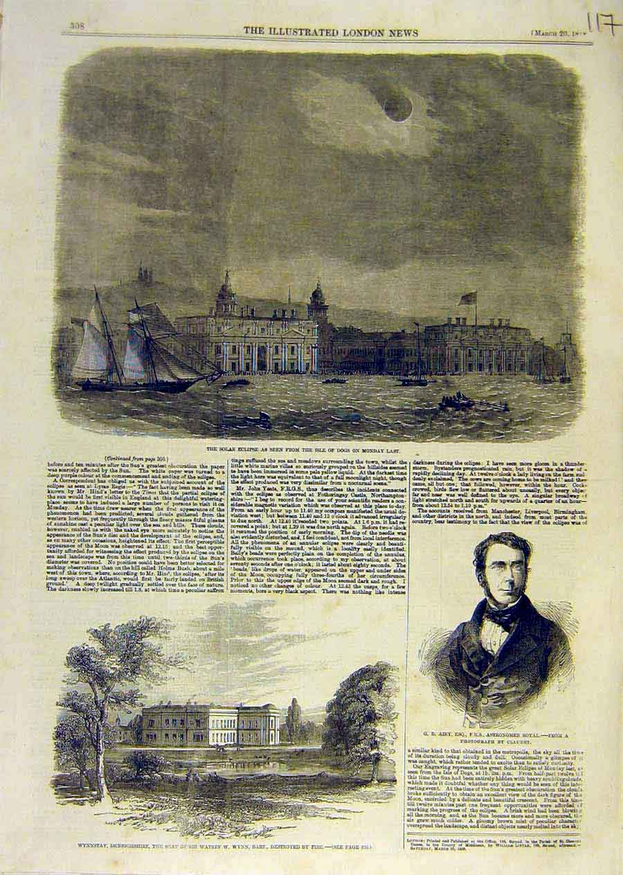 Print Solar Exclipse Isle-Dogs Wynn-Stay Airy 1858 17Ccc0 Old Original