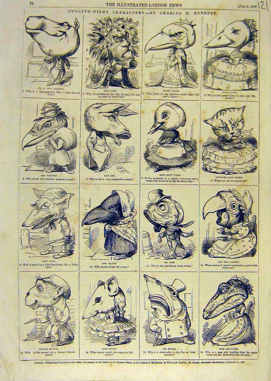 Print Twelfth-Night Character Sketches Bennett Theatre 1858 21Ccc0 Old Original