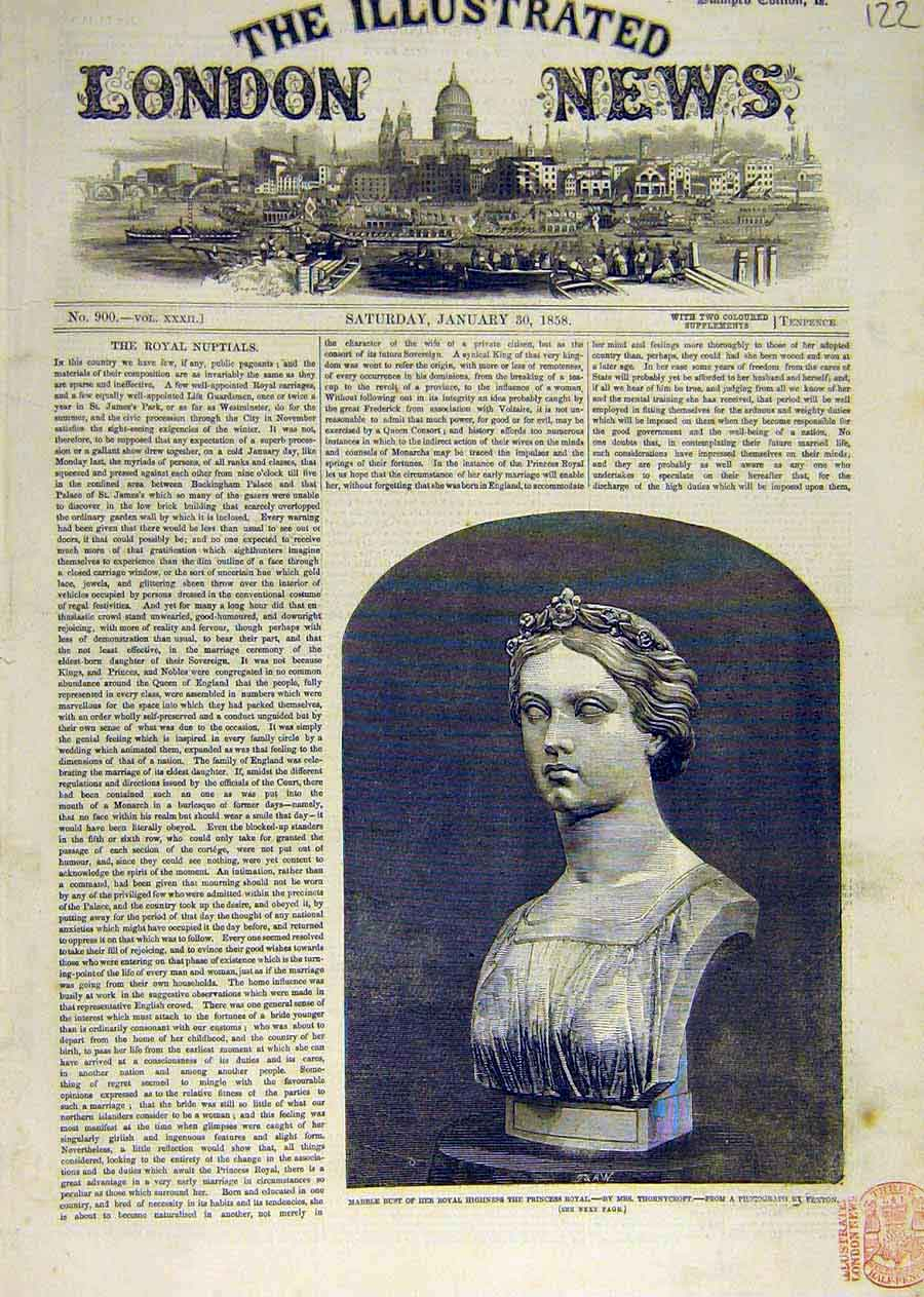 Print Marble Bust Princess Royal Thornycroft 1858 22Ccc0 Old Original
