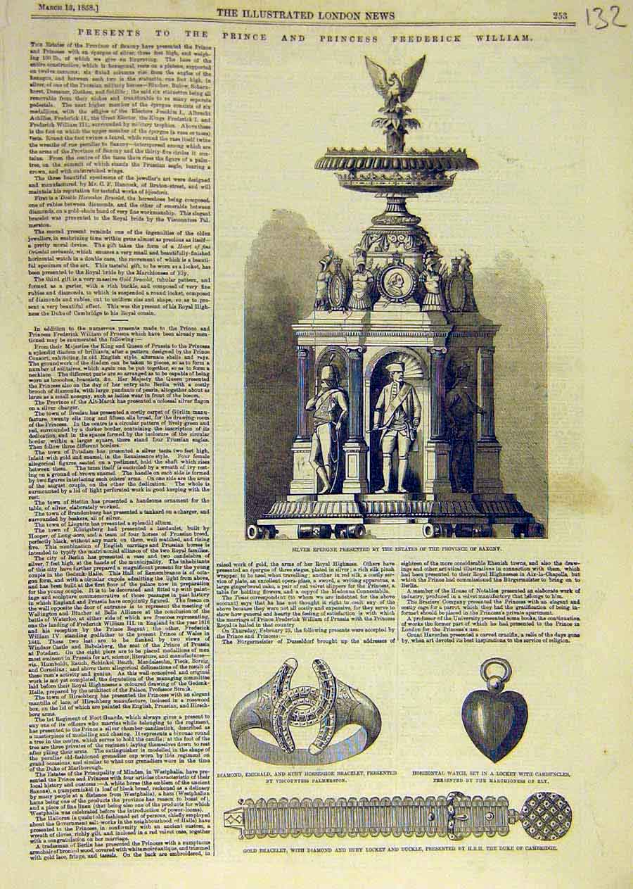 Print Prince William Presents Epergne Diamond Jewellery 1858 32Ccc0 Old Original