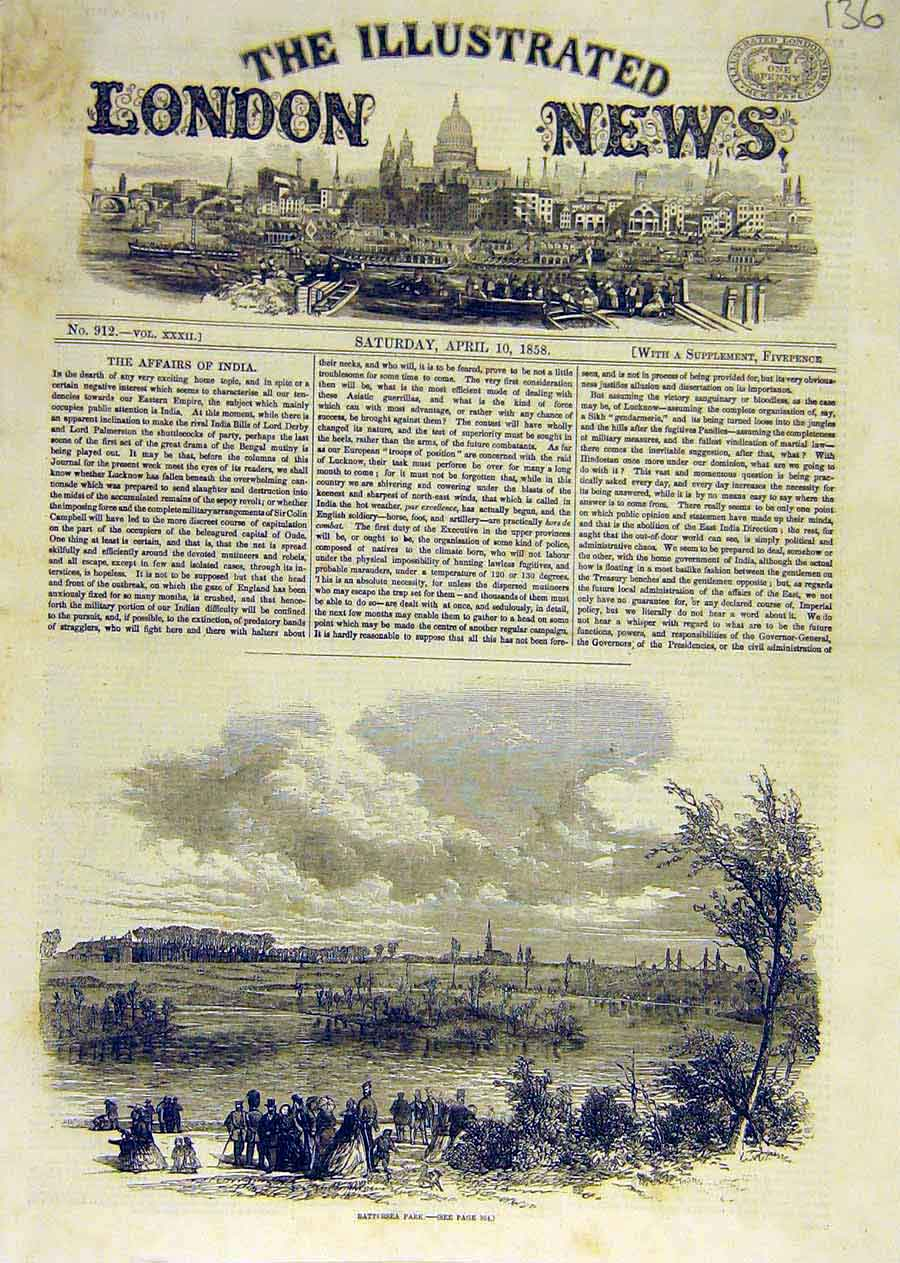 Print Battersea Park View London 1858 36Ccc0 Old Original