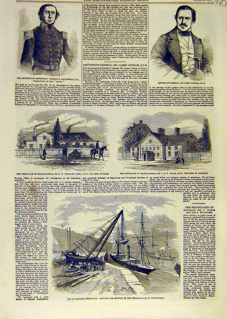 Print Livingstone Expedition Bedingfield Outram Inglis 1858 40Ccc0 Old Original
