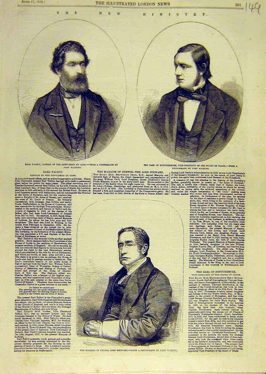 Print Earl Talbot Donoughmore Marquis Exeter Steward 1858 49Ccc0 Old Original