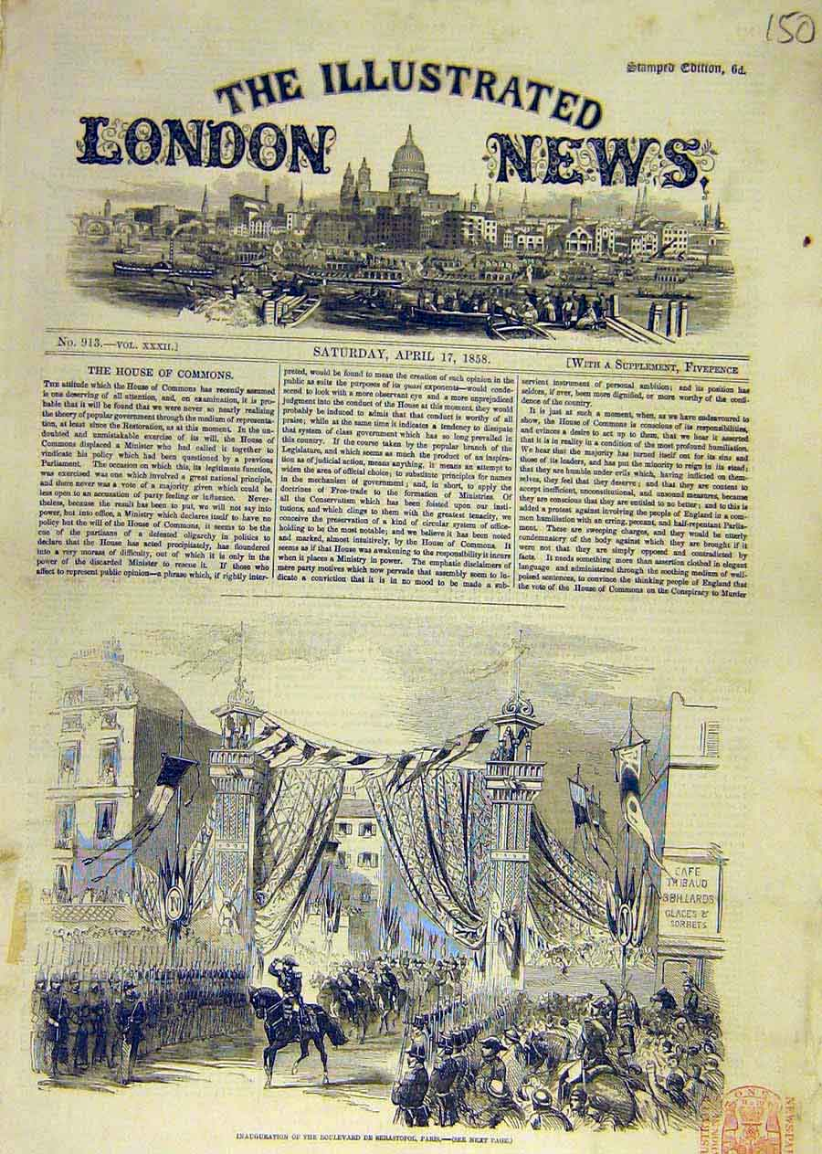 Print Boulevard Sebastopol Paris House Commons 1858 50Ccc0 Old Original