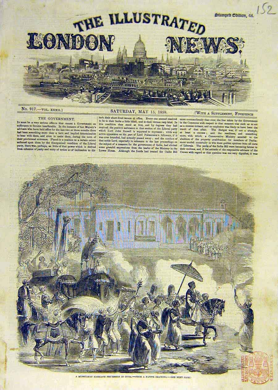 Print Mussulman Marriage Procession India Sketch Native 1858 52Ccc0 Old Original