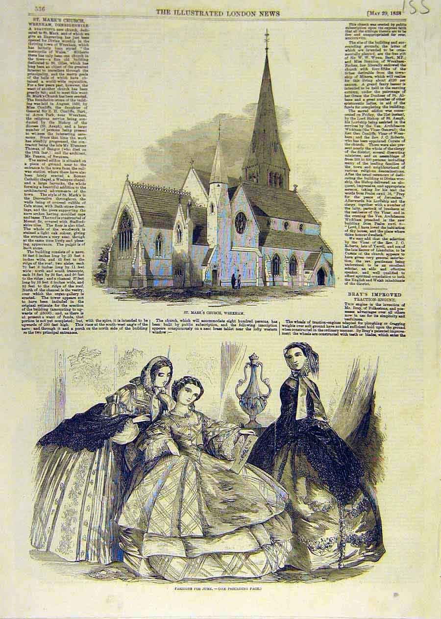 Print St. Mark'S Church Wrexham Ladies Fashions 1858 55Ccc0 Old Original