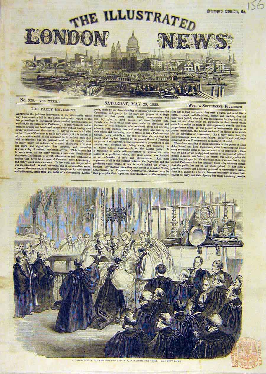 Print Bishop Consecration Calcutta Westminster Abbey 1858 56Ccc0 Old Original