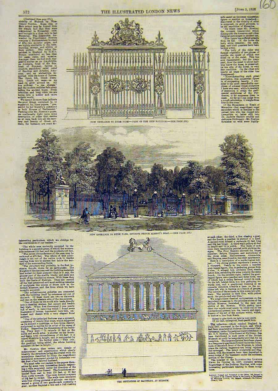 Print Hyde Park London Sepulchre Mausolus Budrum 1858 60Ccc0 Old Original