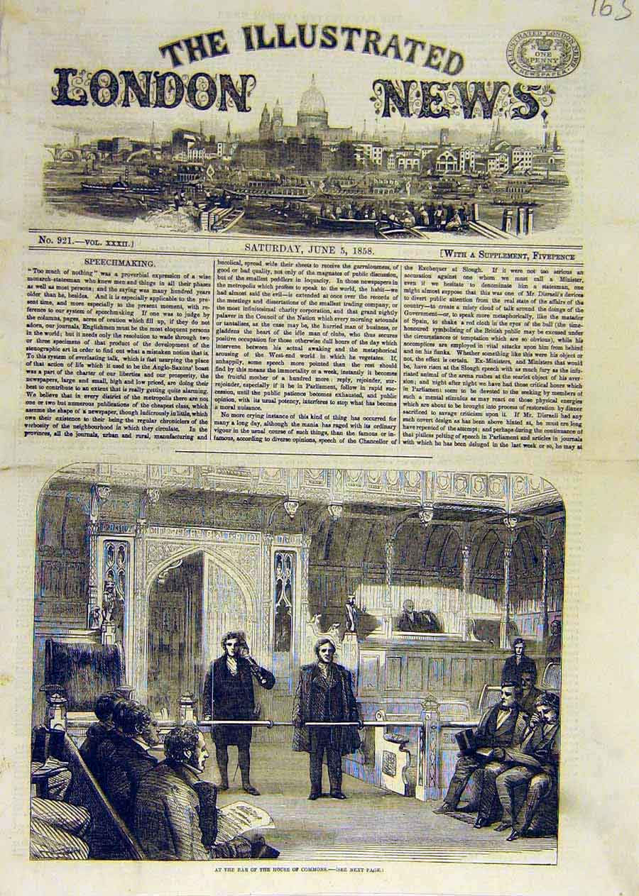 Print House Commons Bar Parliament 1858 63Ccc0 Old Original