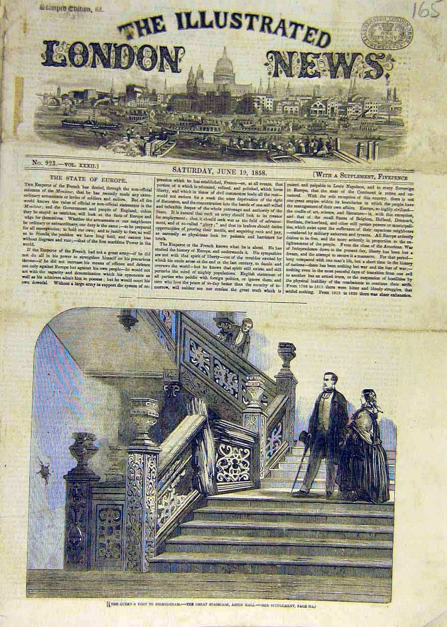 Print Queen Birmingham Staircase Aston Hall 1858 65Ccc0 Old Original