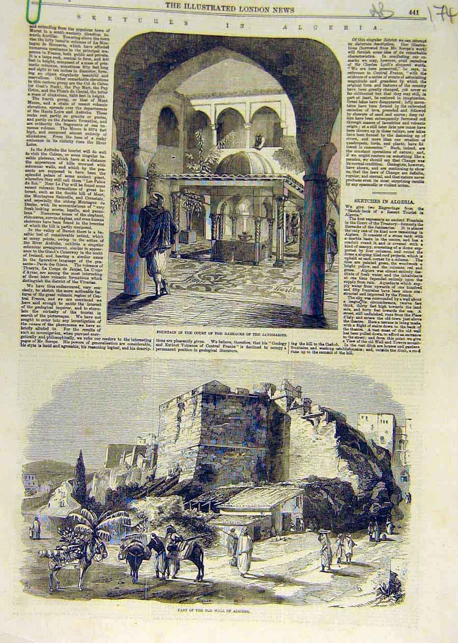Print Algeria Sketches Fountain Wall Moorish Lady Maleki 1858 74Accc0 Old Original