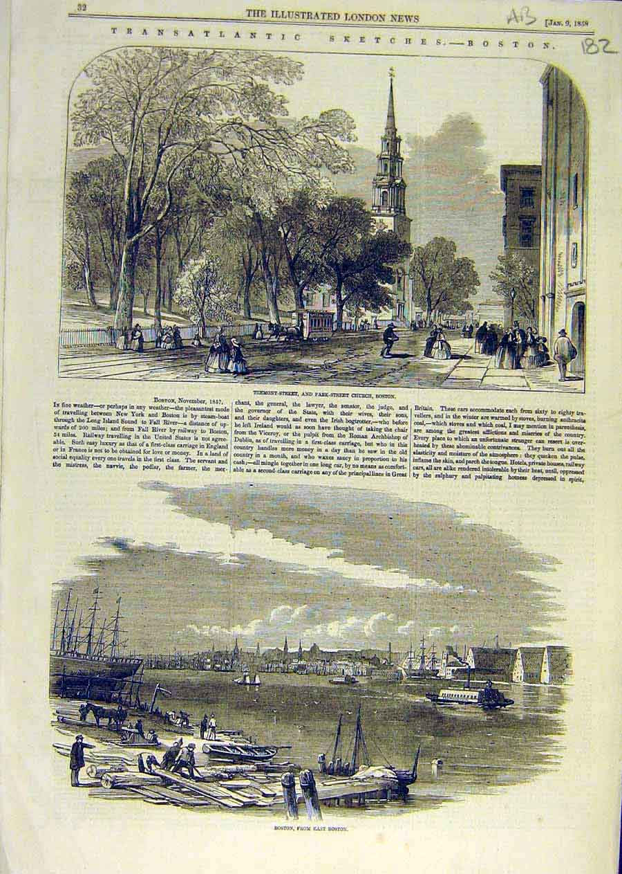 Print Sketches Boston America Longfellow House Usa 1858 82Accc0 Old Original