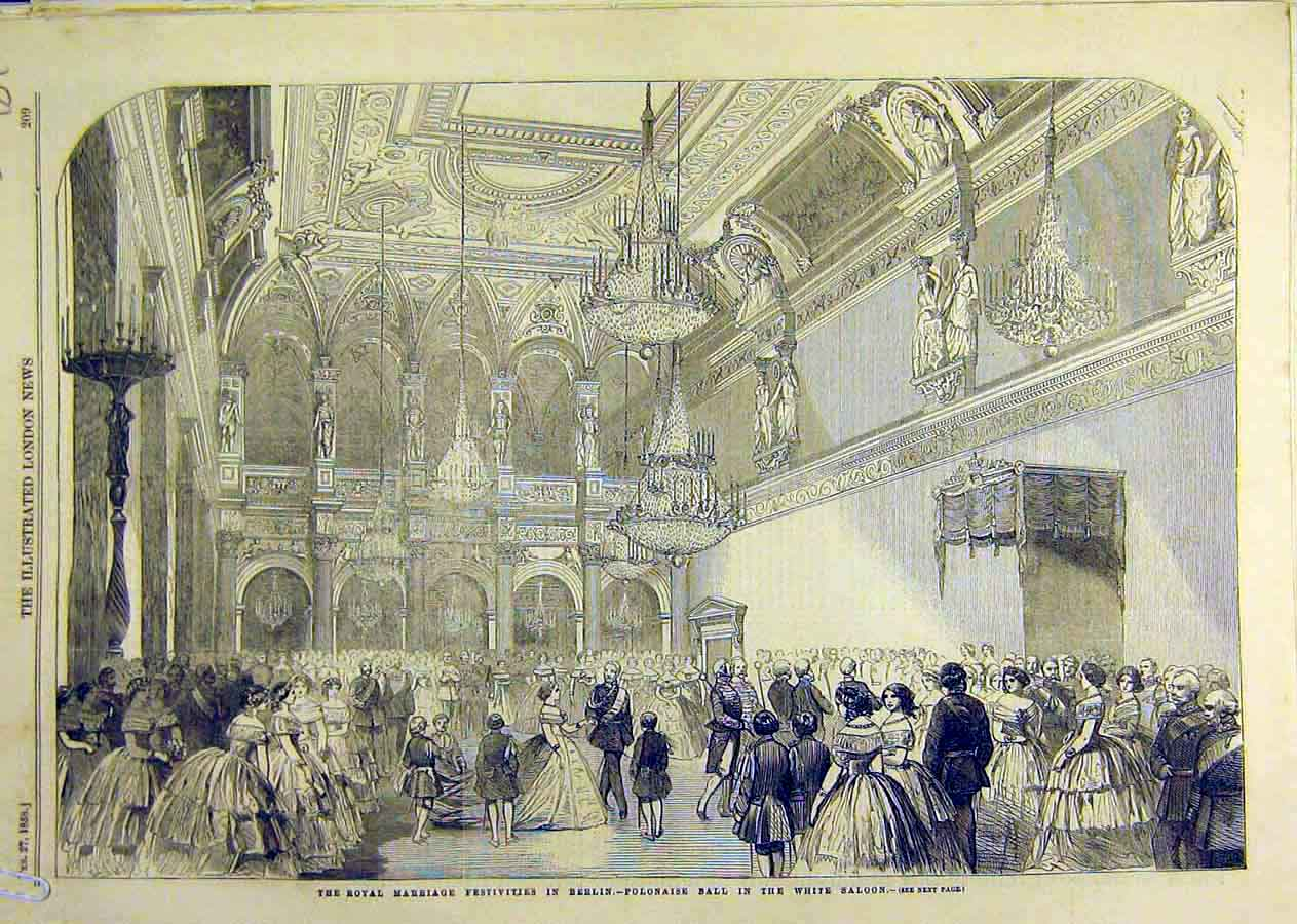 Print Berlin Royal Marriage Palace Prince William 1858 89Accc0 Old Original