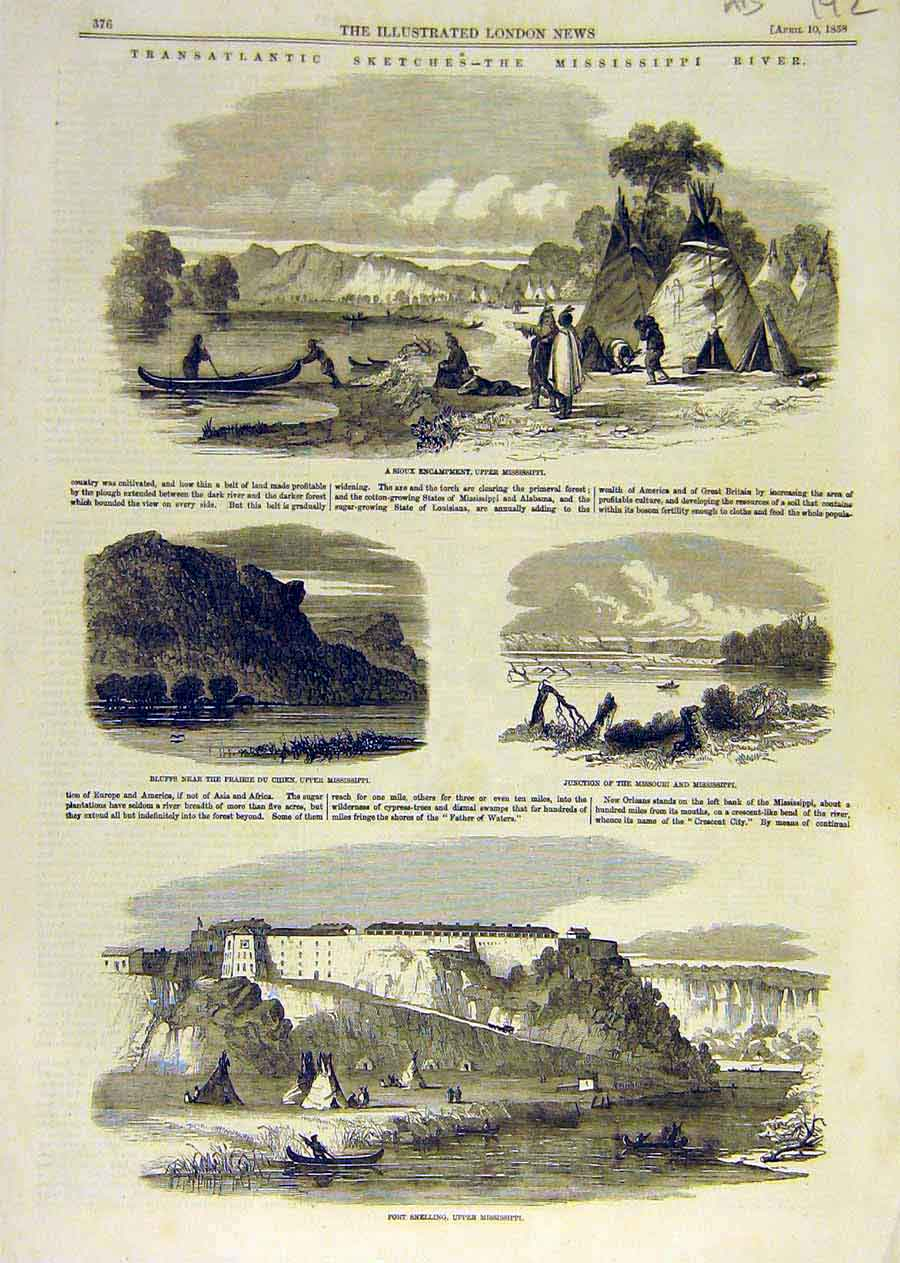 Print Sketches Mississippi River America Sioux Prairie 1858 92Accc0 Old Original