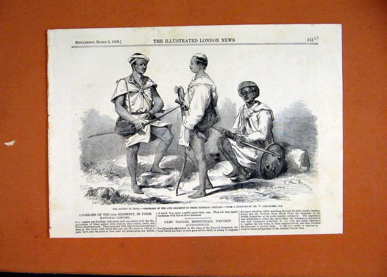 Print Mutiny India Goorkahs Regiment National-Costume 1858 11Uccc0 Old Original