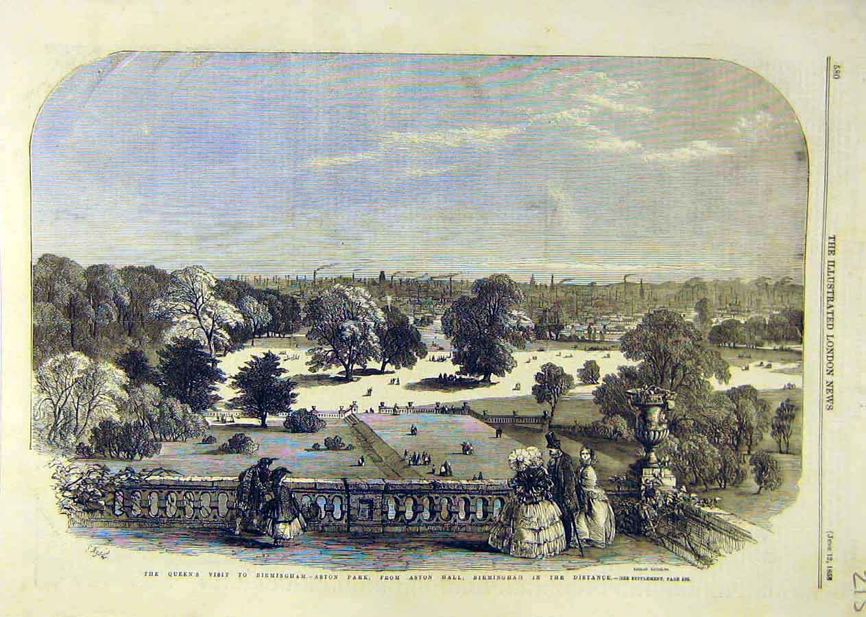 Print Queen Visit Birmingham Aston Park Hall 1858 15Ccc0 Old Original