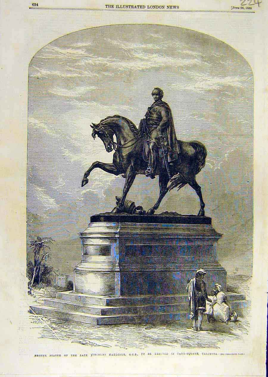 Print Bronze Statue Viscountharding Calcutta India 1858 24Ccc0 Old Original