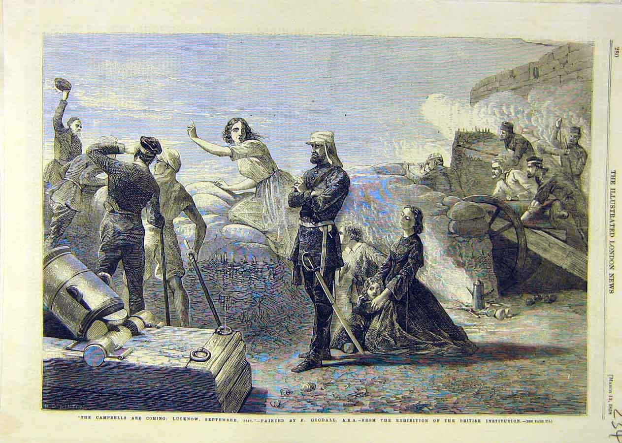 [Print Campbells-Are-Coming Lucknow Goodall 1858 War 34Ccc0 Old Original]
