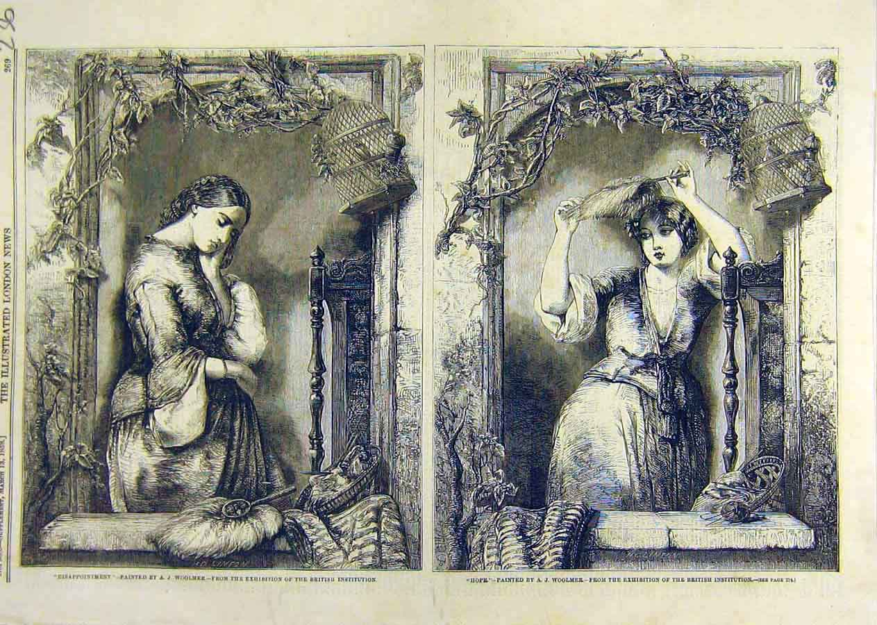 Print Disappointment Wolmer Hope Ladies Fine Art 1858 36Ccc0 Old Original