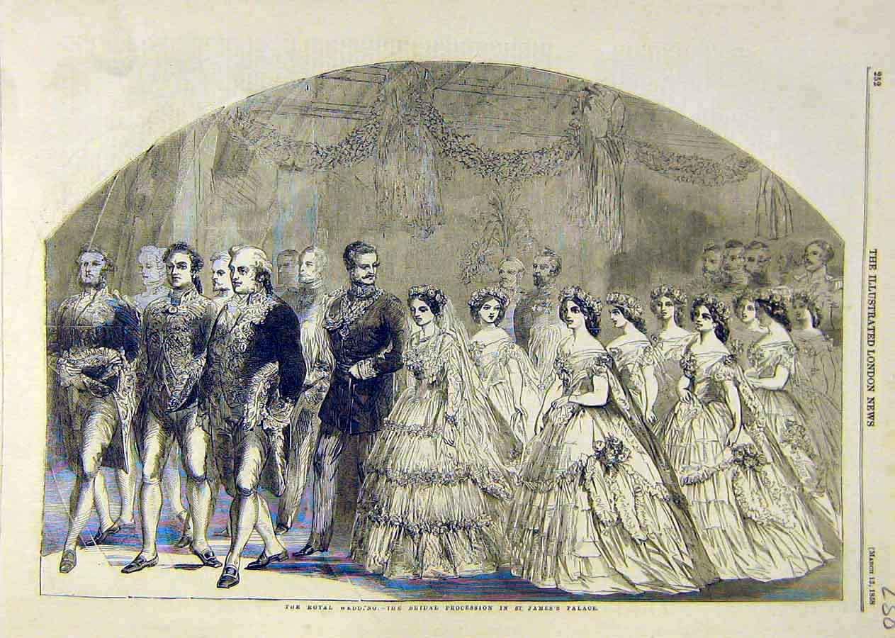 Print Roayl Wedding Bridal Procession St. James'S Palace 1858 38Ccc0 Old Original